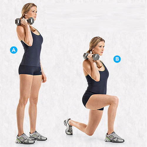 Offset Dumbbell Lunge for Bikini Body before Summer