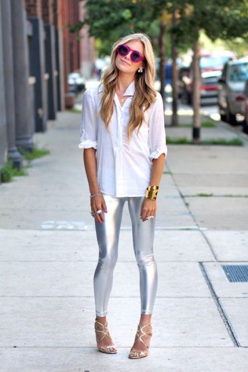 Metallic or gold leggings