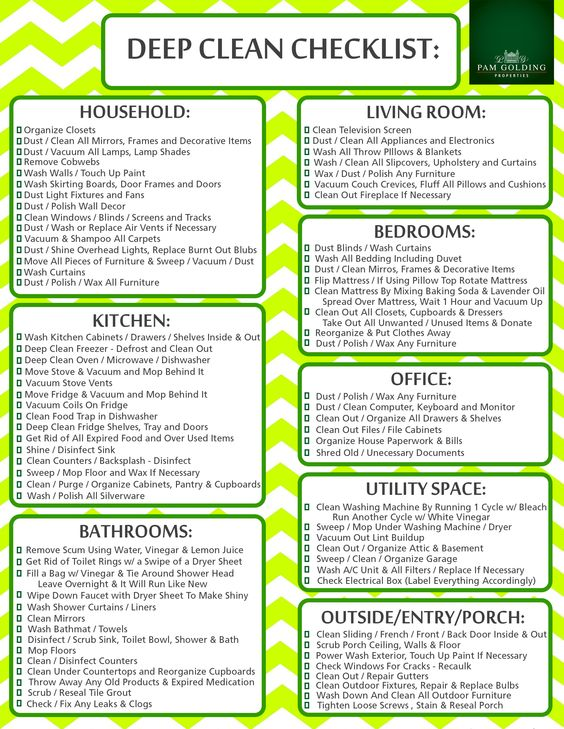 Deep Clean Checklist Cleaning schedule for working moms