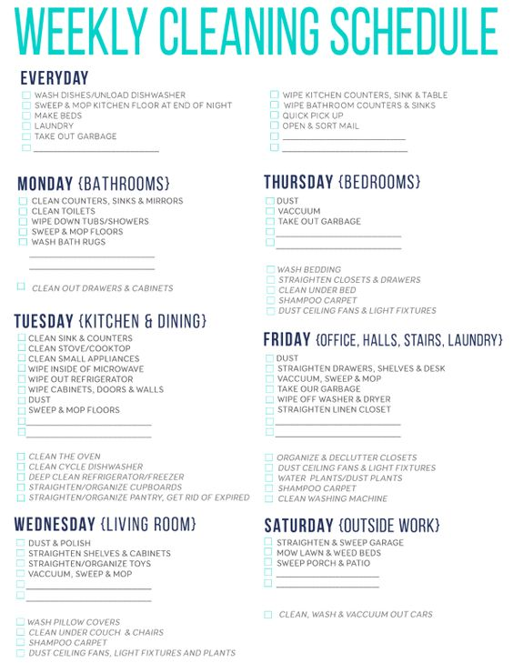 Weekly Cleaning schedule for working moms