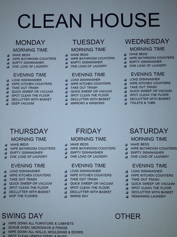 Clean House Cleaning schedule for working moms