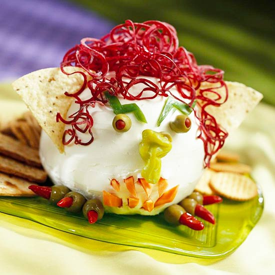 Cheesy Goblin Head Creative Halloween Appetizers