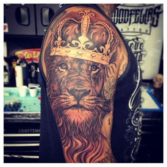 Crowned lion design Lion Tattoo