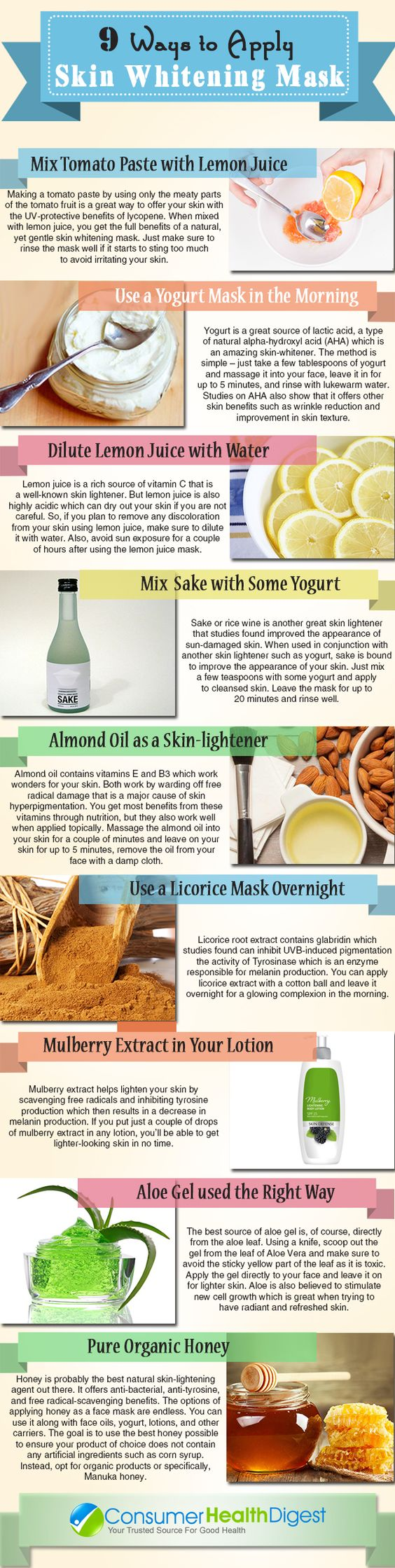ways to apply skin whitening mask