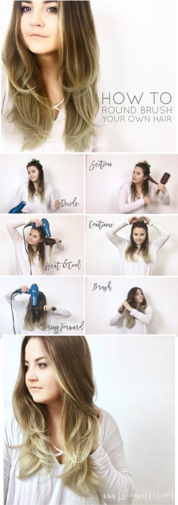 how to round brush your own hair with blow dryer