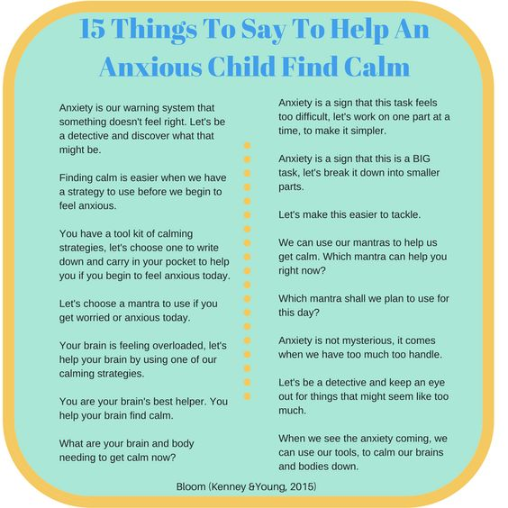 things to say to help an anxious child find calm