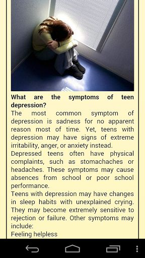 what are the symptoms of teen depression