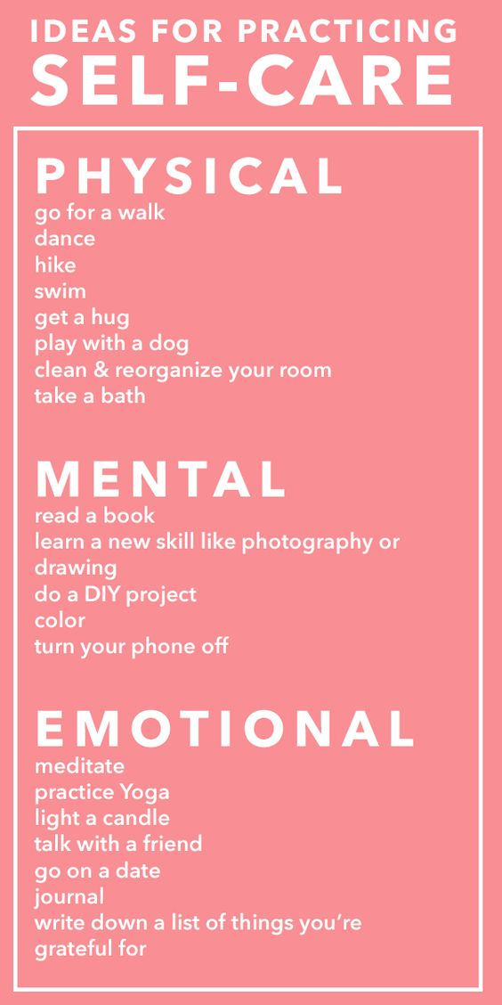 ideas for practicing self care