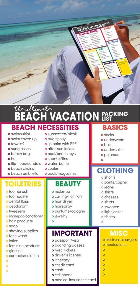ultimate beach vacation packing list