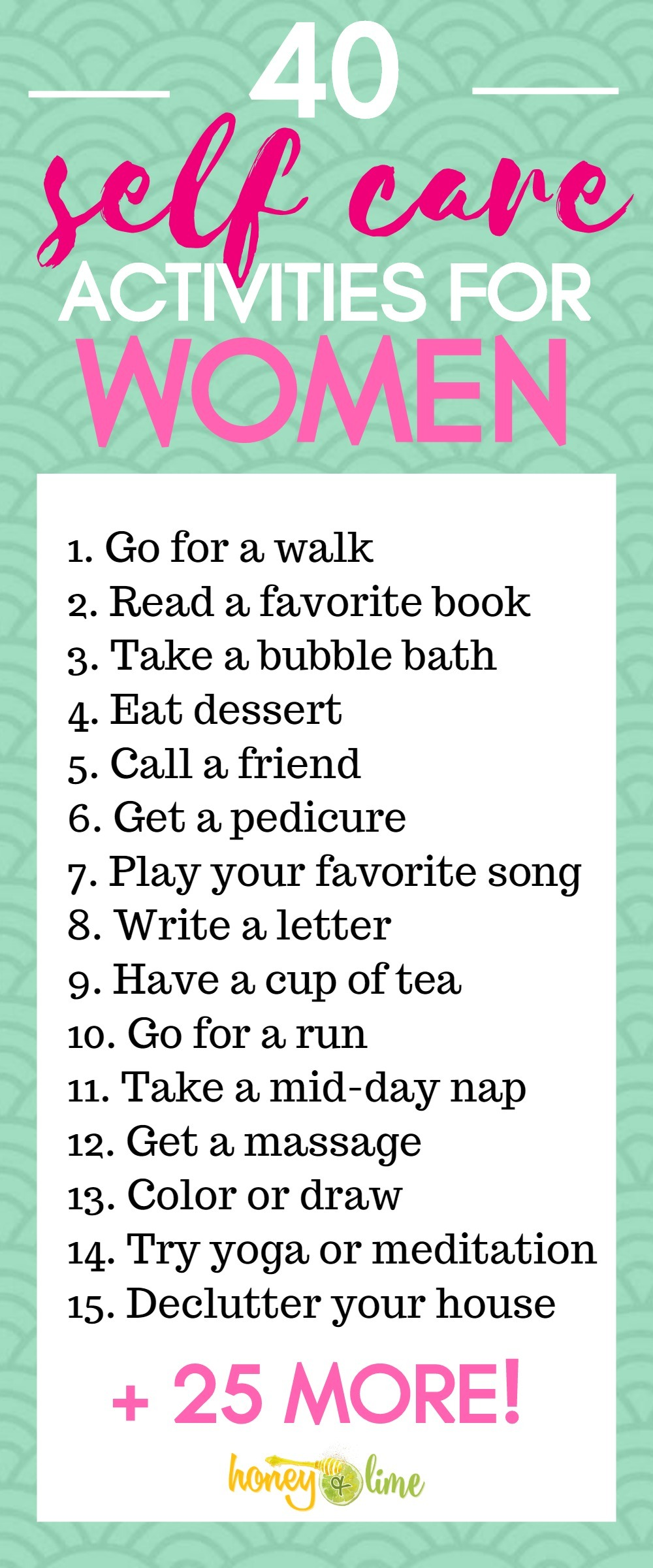 Self care activities for women