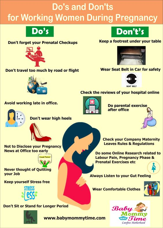 Do's and don'ts for working women during pregnancy