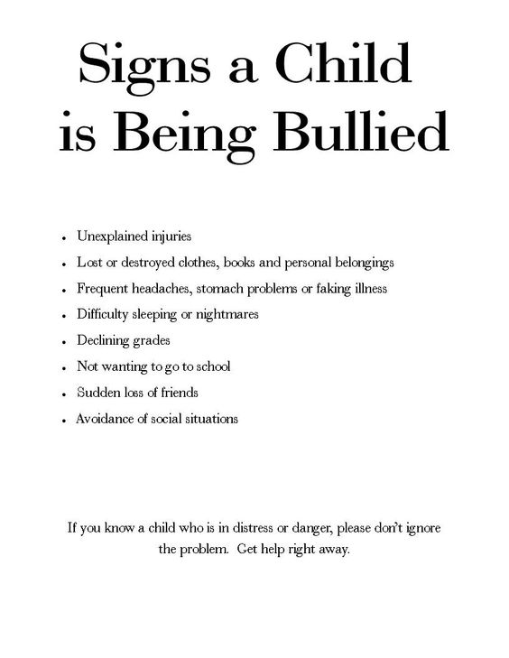signs a child is being bullied