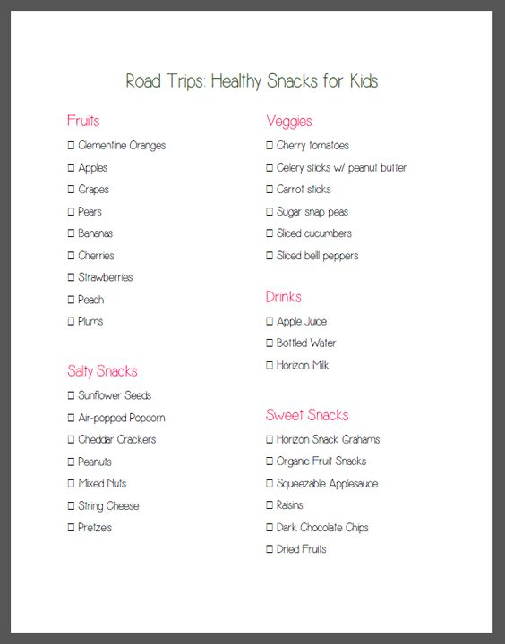 Road Trips healthy Snacks for Kids