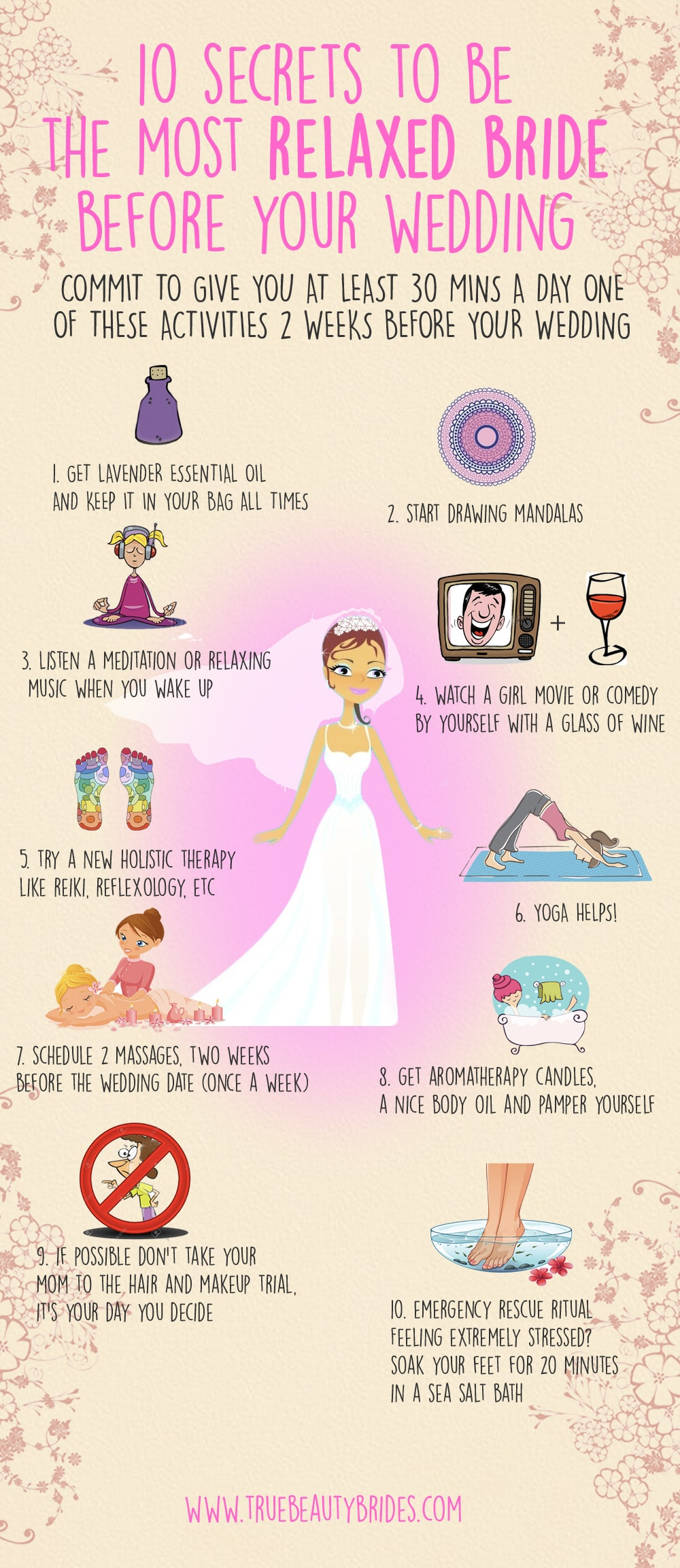 Secrets to be the most relaxed bride before your wedding
