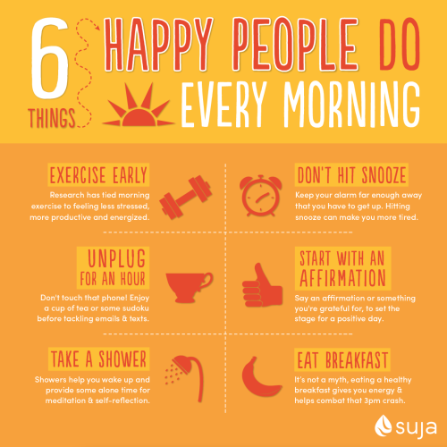 Happy people do every morning