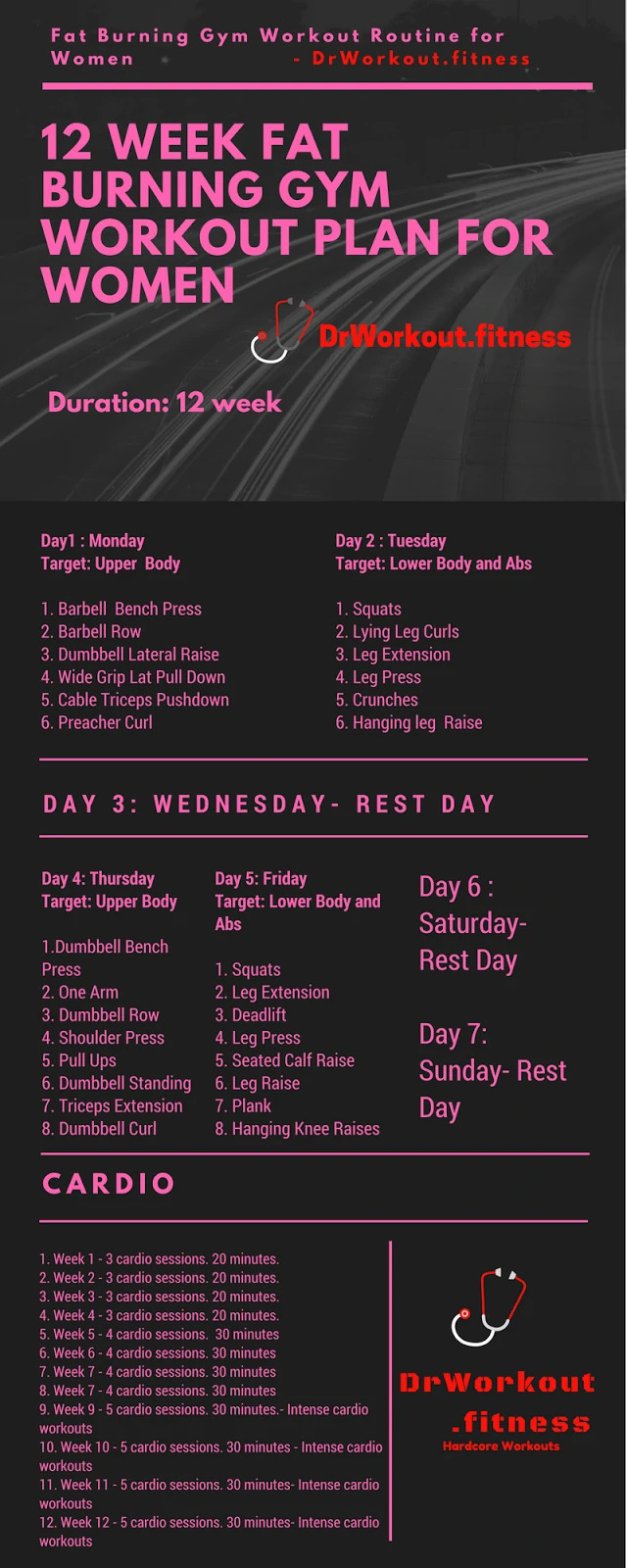12 week fat burning gym workout plan for women