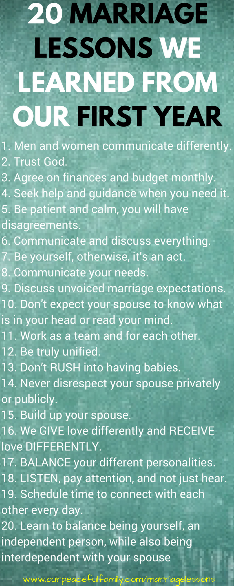 Lessons from First year of marriage